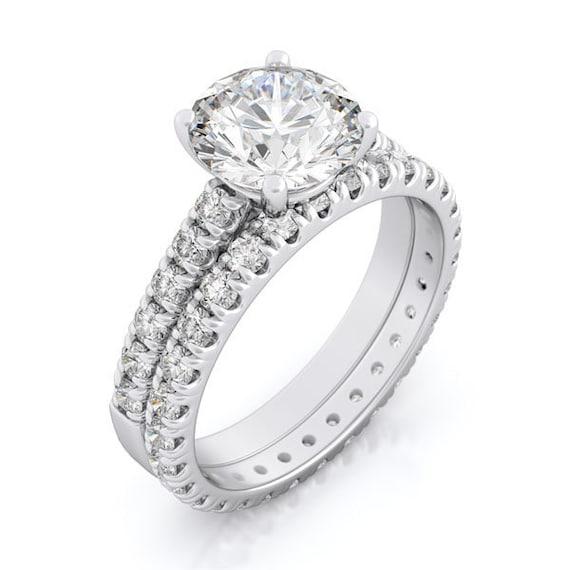 2PC CZ Simulated Diamond Silver Bridal Set