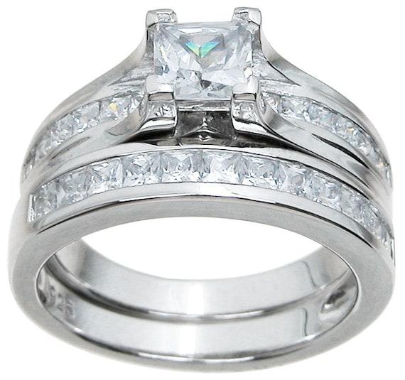 2PC Princess cut Contemporary CZ Simulated Diamond Silver Wedding Set