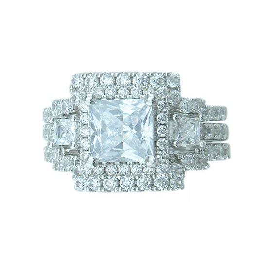 3PC Princess Cut CZ Simulated Diamond Silver Engagement Wedding Ring Bridal Set