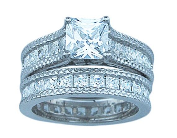 2PC Princess cut CZ Simulated Diamond Silver Wedding Set