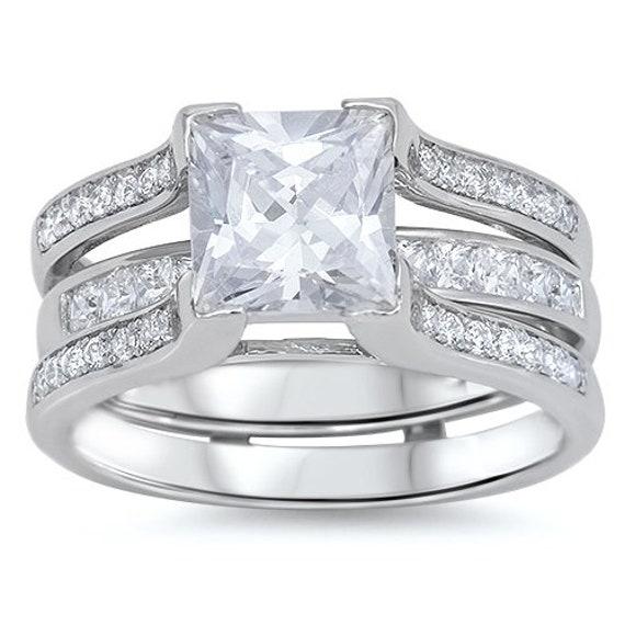 2PC Princess Cut CZ Sterling Silver Engagement Wedding Ring Set
