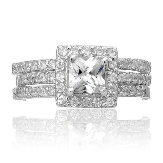 2PC Princess Cut Halo CZ Silver Engagement Wedding Ring Set