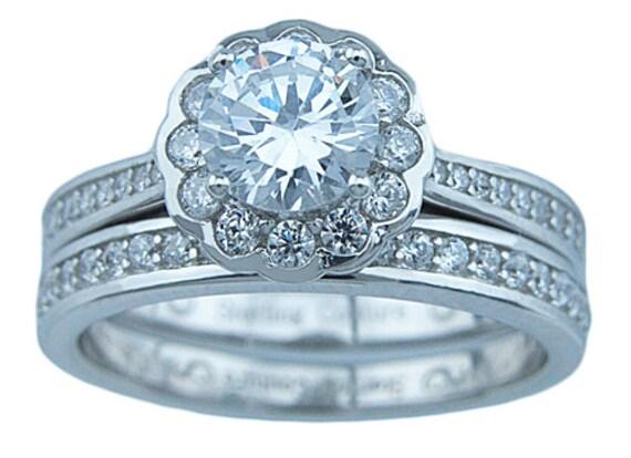 2PC Round Rosella CZ Simulated Diamond Silver Wedding Set