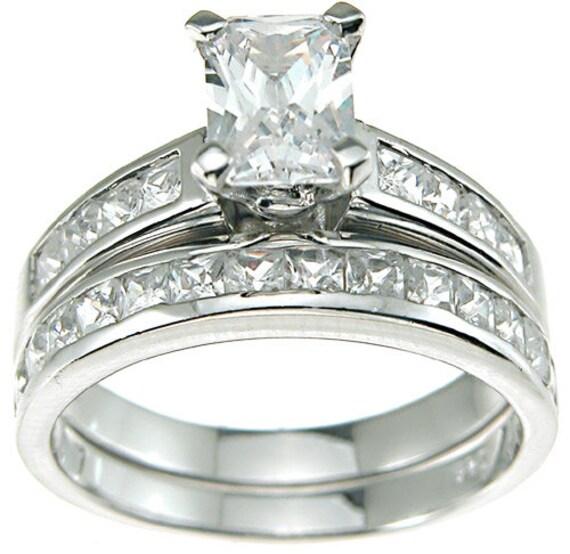 2PC Emerald Cut CZ Simulated Diamond Silver Ring Bridal Set