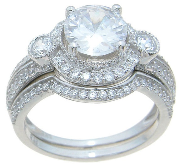 2PC Vintage Halo Style CZ Simulated Diamond Silver Wedding Set