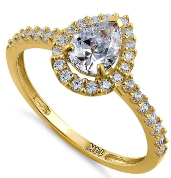 1.5ct Pear Cut Solid 14K Yellow Gold CZ Diamond Engagement Ring