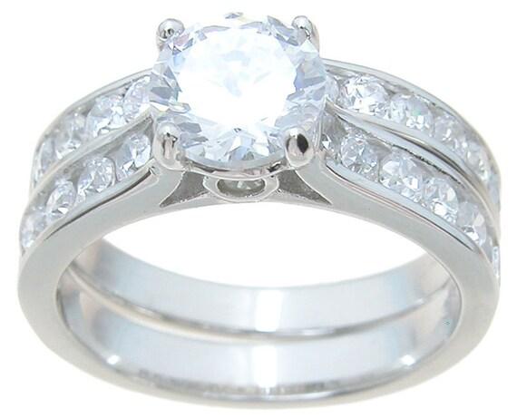 2PC Channel CZ Simulated Diamond Silver Bridal Set