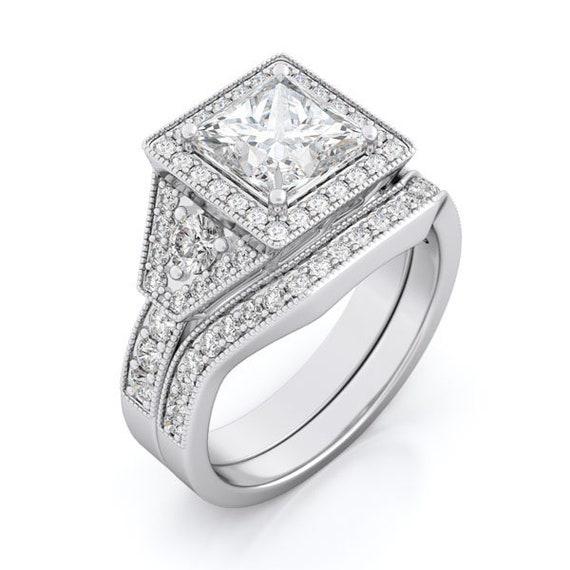 2PC Princess Cut Antique Style CZ Simulated Diamond Silver Ring Bridal Set