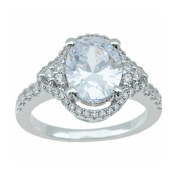 Silver Pave Oval Cut Engagement ring