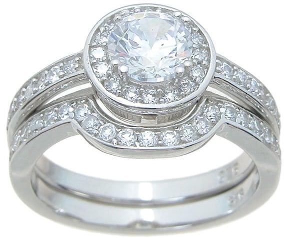 2PC Round CZ Simulated Diamond Silver Engagement Wedding Ring  Set