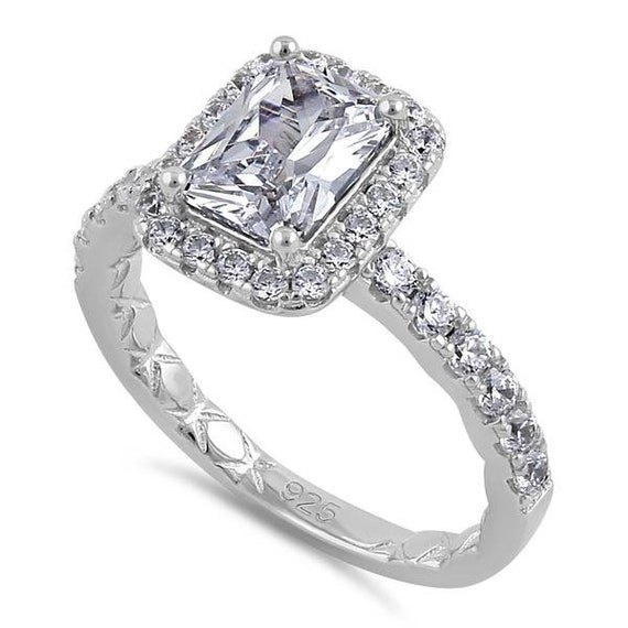 Halo Silver Pave Emerald Cut Engagement ring