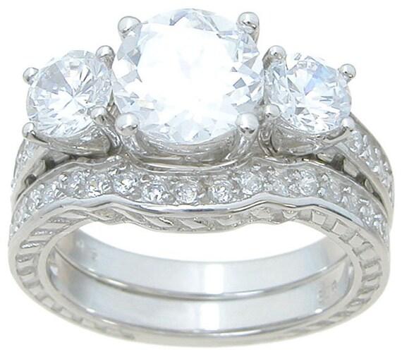 3 Stone Classic Antique Style CZ Simulated Diamond Silver Bridal Set