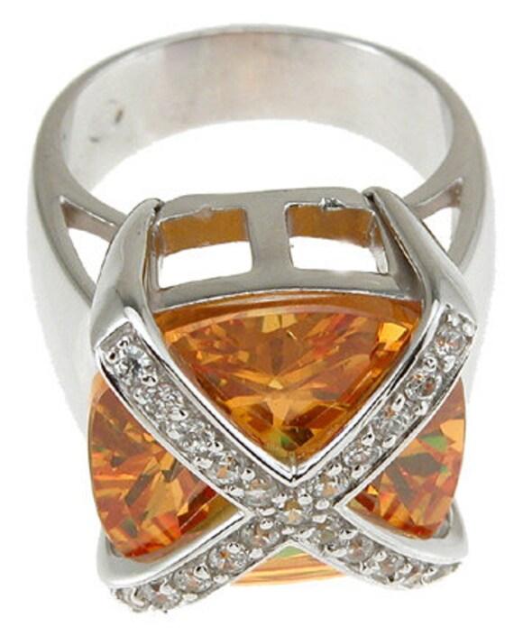 High Fashion Simulated Citrine Fashion Pave Anniversary Ring