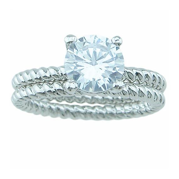 2PC Round CZ Simulated Diamond Silver Bridal Wedding Ring Set