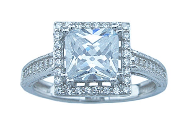 Princess Cut Antique Style Pave CZ Simulated Diamond Silver Ring
