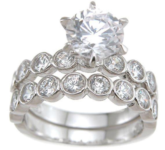 2PC Round Bezel CZ Simulated Diamond Silver Wedding Ring Set
