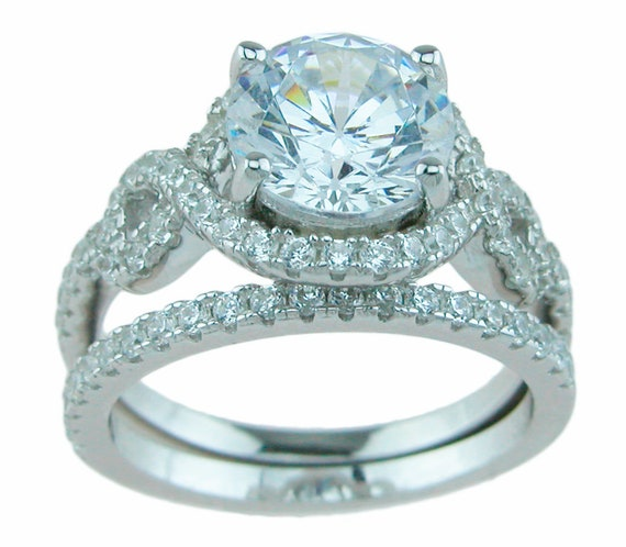 Antique Style CZ Simulated Diamond Wedding Engagement Ring set