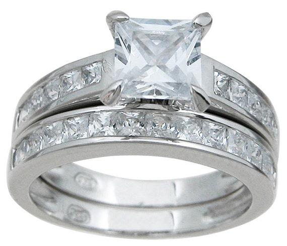 2PC Princess Cut CZ Simulated Diamond Silver Ring Bridal Set