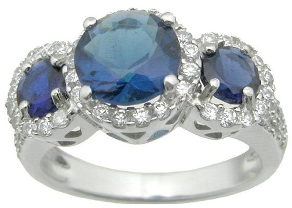 Three Stone Blue CZ Simulated Sapphire ring