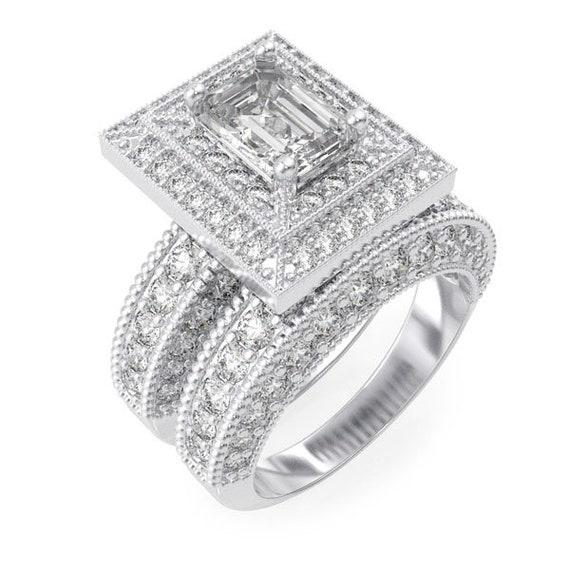 2PC Victorian Style CZ Simulated Diamond Silver Ring Bridal Set