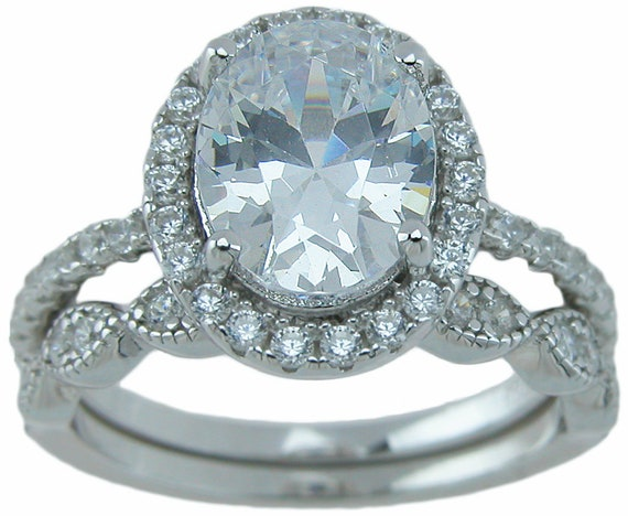 Beautiful Victorian style CZ Simulated Diamond Wedding Engagement Ring set