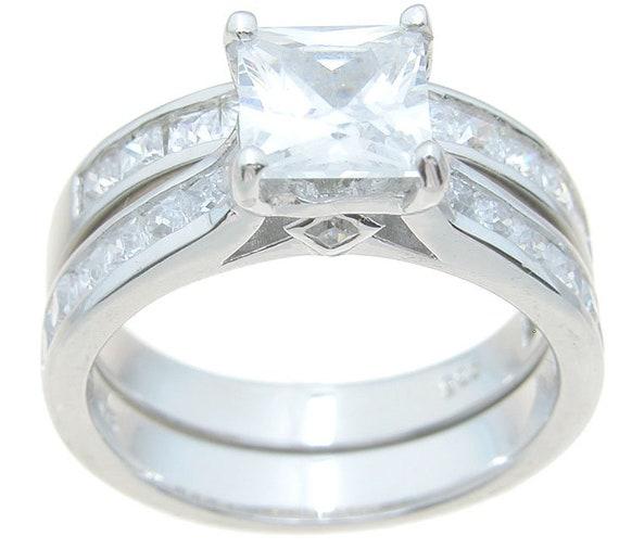 2PC Princess Cut CZ Simulated Diamond Silver Bridal Wedding Ring Set