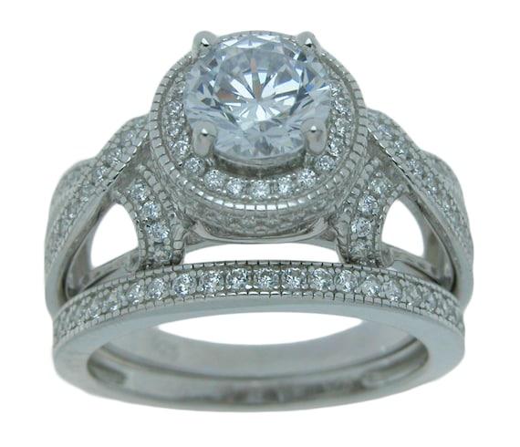 Brilliant Round Victorian style CZ Simulated Diamond Wedding Engagement Ring set