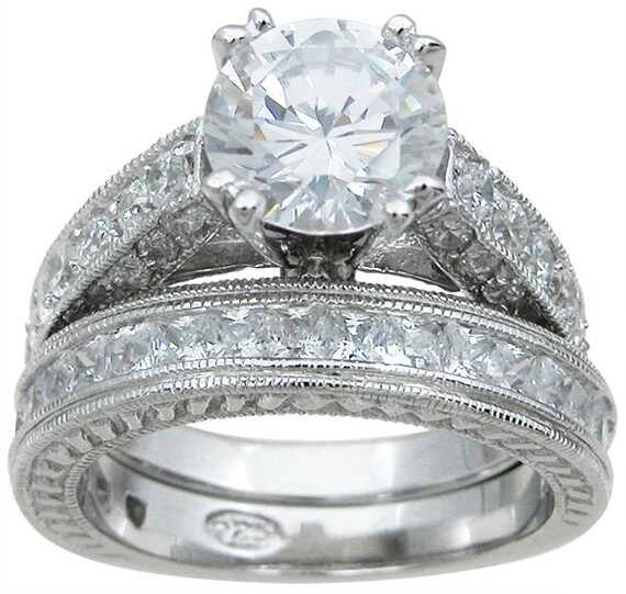 2PC Round Antique Style CZ Simulated Diamond Silver Ring Bridal Set