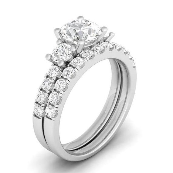 3 Stone Brillant Round Cut CZ Simulated Diamond Silver Bridal Set