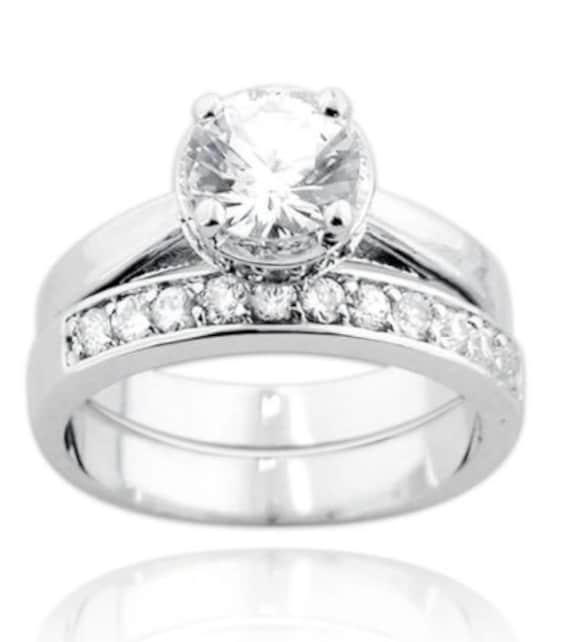 2PC Round Cut CZ Engagement Wedding Ring Set