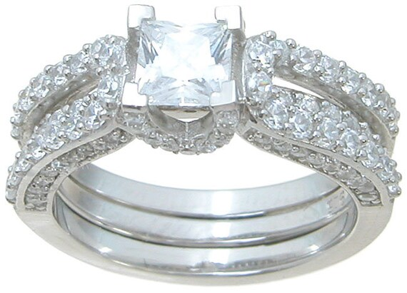 2PC Princess Cut  Pave CZ Simulated Diamond Silver Bridal Wedding Ring Set