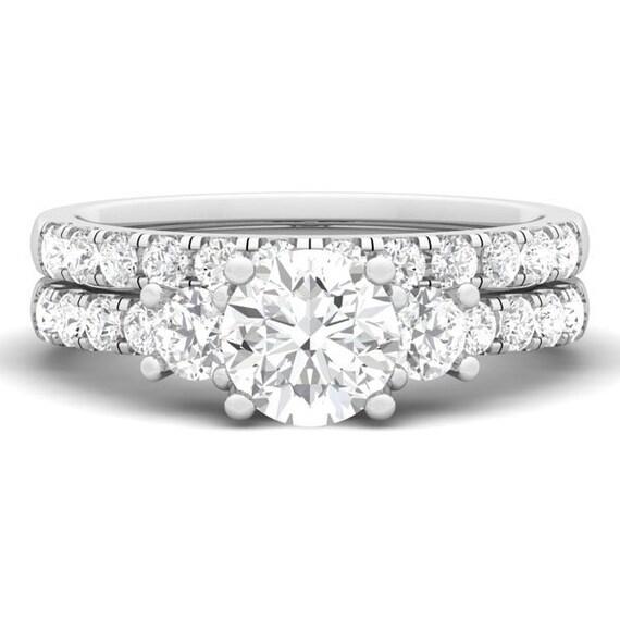 Three Stone Brilliant CZ Simulated Diamond Silver Bridal Wedding Ring Set