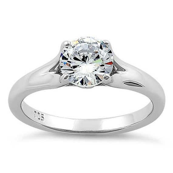 Silver Round Cut Solitaire ring