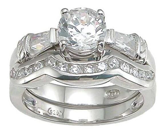 2PC Brilliant Baguettes CZ Simulated Diamond Silver Ring Bridal Set