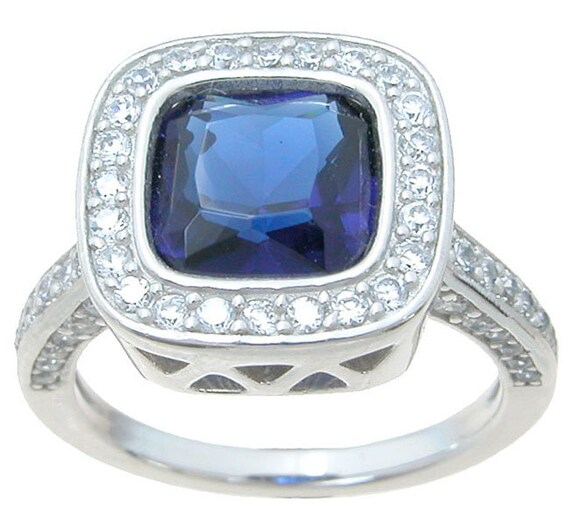 Blue  CZ Simulated Sapphire ring
