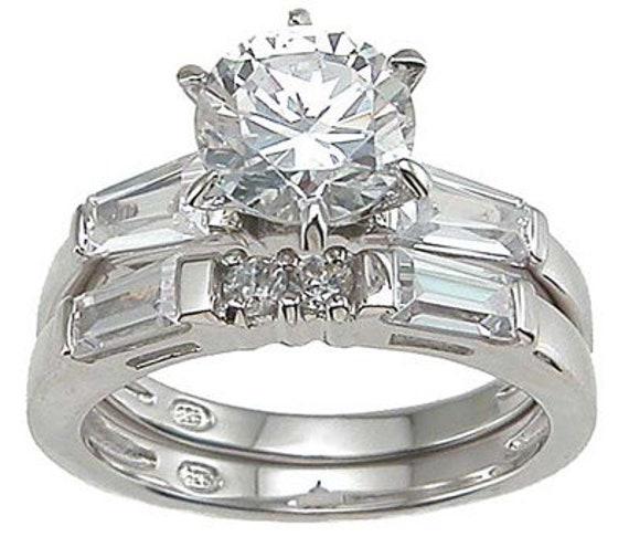 2PC Round Baguettes Engagement Wedding Ring Set
