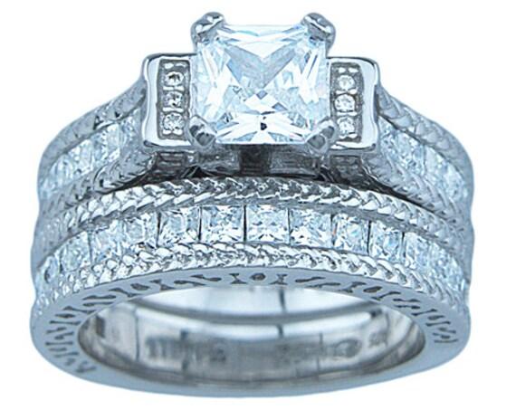 2PC Princess cut Cathedral Style CZ Simulated Diamond Silver Wedding Set