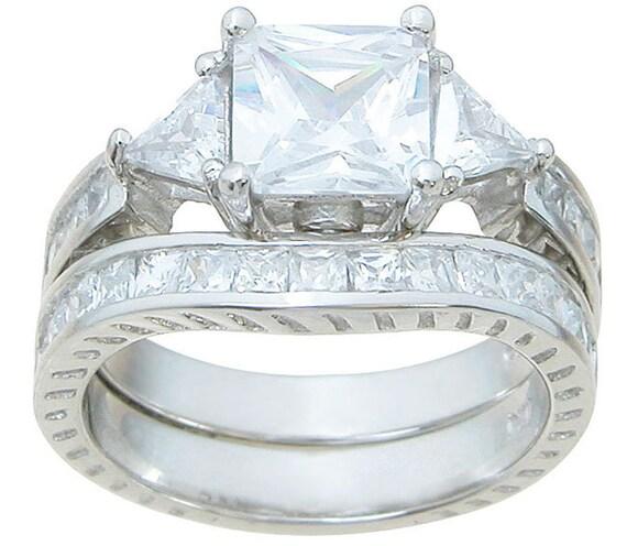 3 Stone Princess Trillion Cut CZ Simulated Diamond Wedding Bridal Ring Set