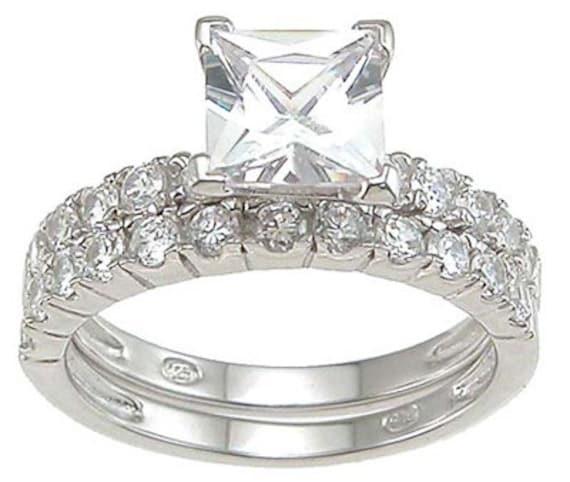 2PC Princess Cut Pave Setting CZ Simulated Diamond Silver Wedding Set