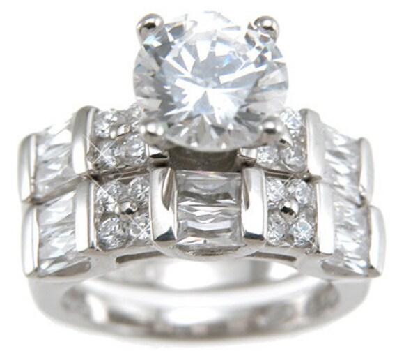 2PC Brilliant Round Baguettes CZ Simulated Diamond Silver Ring Bridal Set