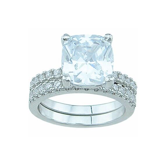 2PC Cushion Cut Paved CZ Simulated Diamond Silver Bridal Set