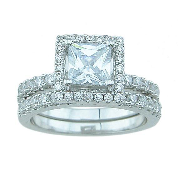 2PC Princess Cut Paved CZ Simulated Diamond Silver Bridal Set