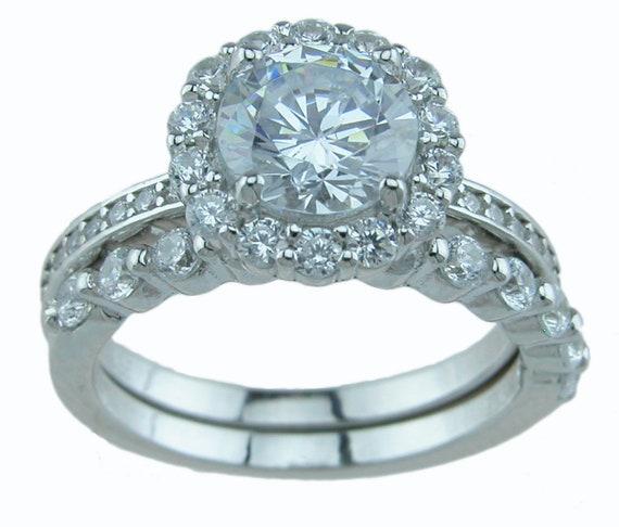 Brilliant Victorian style CZ Simulated Diamond Wedding Engagement Ring set