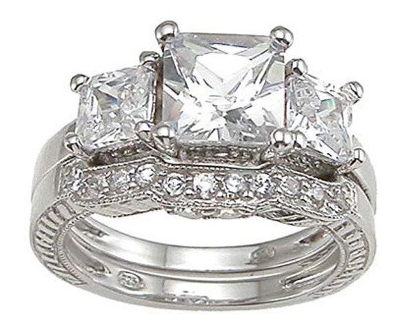 3 Stone Princess Cut CZ Simulated Diamond Silver Bridal Set