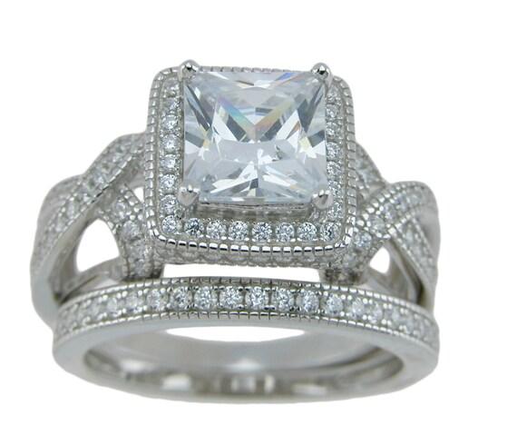 Princess Cut Antique style CZ Simulated Diamond Wedding Engagement Ring set
