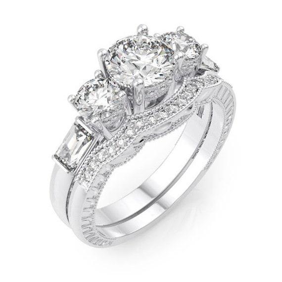 3 Stone Past Present Future CZ Simulated Diamond Silver Ring Bridal Set