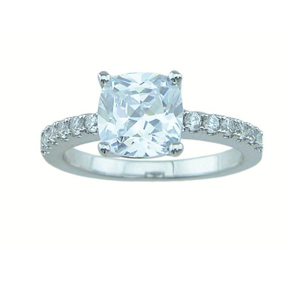 Cushion Cut Antique Style Pave CZ Simulated Diamond Silver Ring