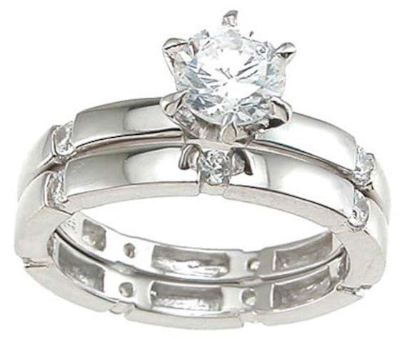 2PC Round Channel CZ Simulated Diamond Silver Ring Bridal Set