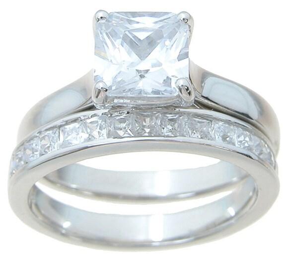 2PC Princess Cut Channel CZ Simulated Diamond Silver Bridal Set