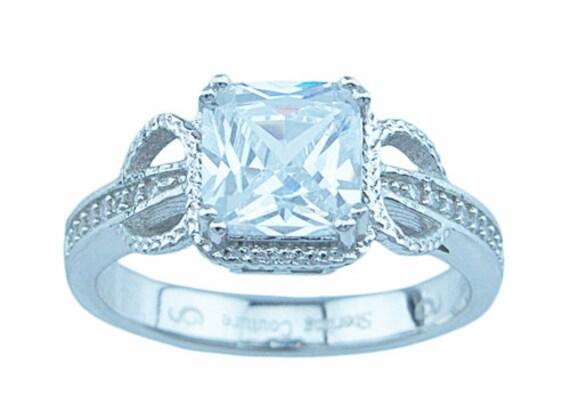 Princess Cut Antique Style CZ Simulated Diamond Silver Ring